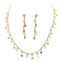 Roberto Coin Pearl Gold Teardrop Necklace with Earrings