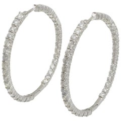 Roberto Coin Perfect Hoop Inside Out Diamond Earring in 18 Karat White Gold