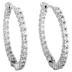 Roberto Coin Perfect Hoops White Gold Diamond Hoop Earrings