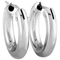Roberto Coin Perfect Hoops White Gold Hoop Earrings