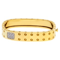 Roberto Coin Pois Moi Collection, Modern, Rounded Square Cuff in 18k Yellow Gold
