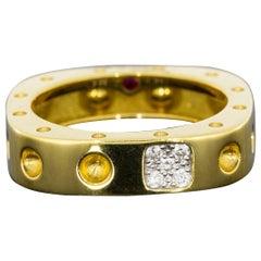 Roberto Coin Pois Moi Yellow Gold 0.07 Carat Round Diamond Band Ladies Ring