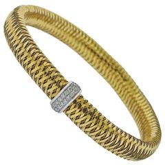 Roberto Coin Primavera 18 Karat Gold Diamond Bangle Bracelet