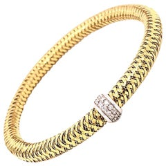 Roberto Coin Primavera 18 Karat Yellow Gold and Diamond Flexible Bangle Bracelet