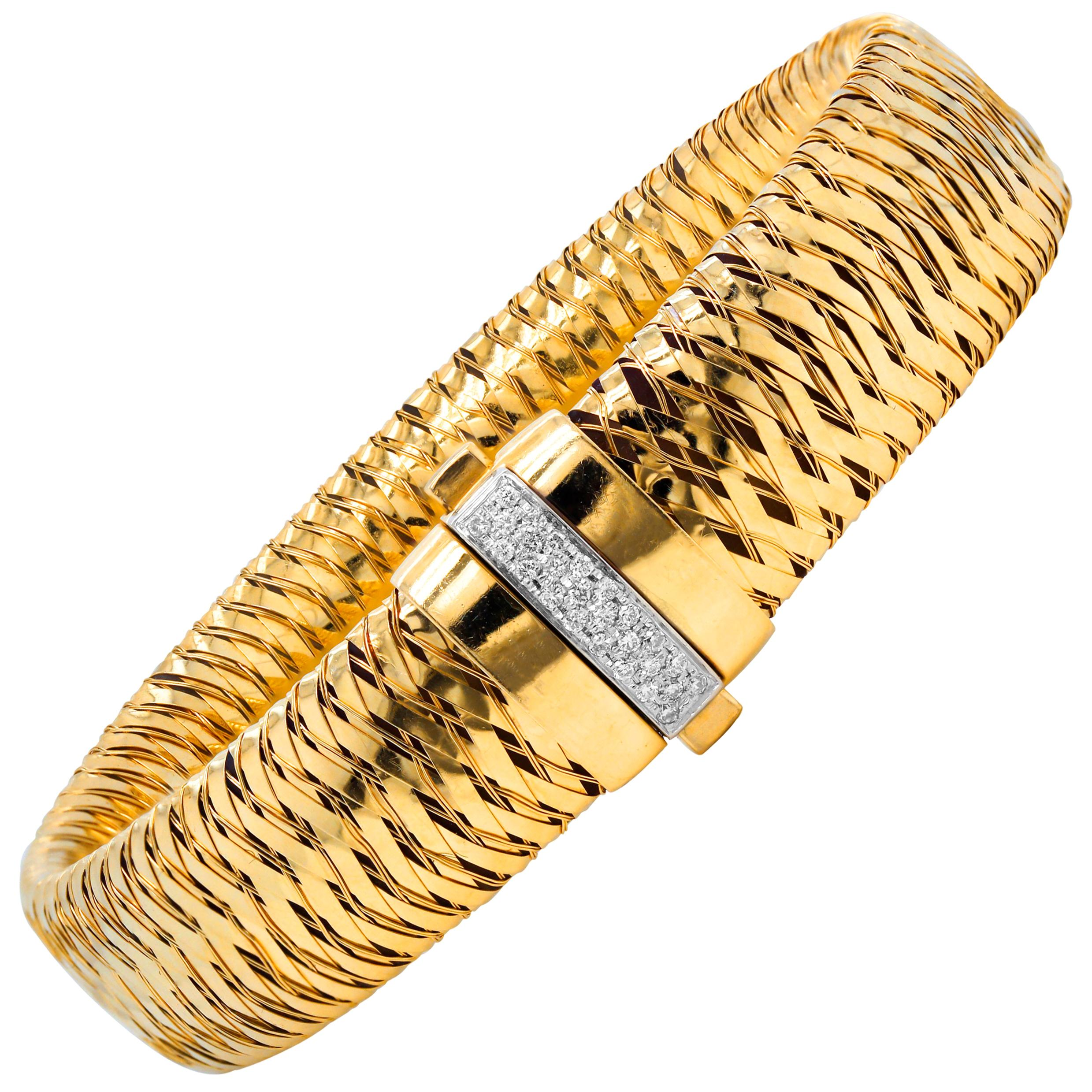 Roberto Coin Primavera 18 Karat Yellow Gold Diamond Bracelet