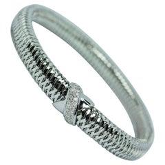 Roberto Coin Primavera Diamond & 18k White Gold Woven Bracelet MSRP $2450