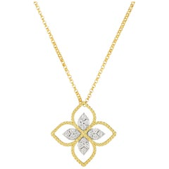 Roberto Coin Princess Flower Large Yellow Gold Diamond Pendant Necklace 1/6ct