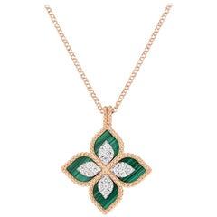 Roberto Coin Princess Flower Malachite and Diamond Necklace 8882784AHCHXM