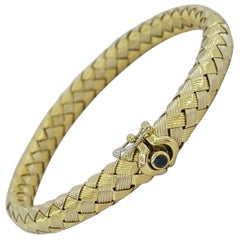 Roberto Coin Roberto Coin 18 Carats Yellow Gold Silk Flexible Bangle Bracelet