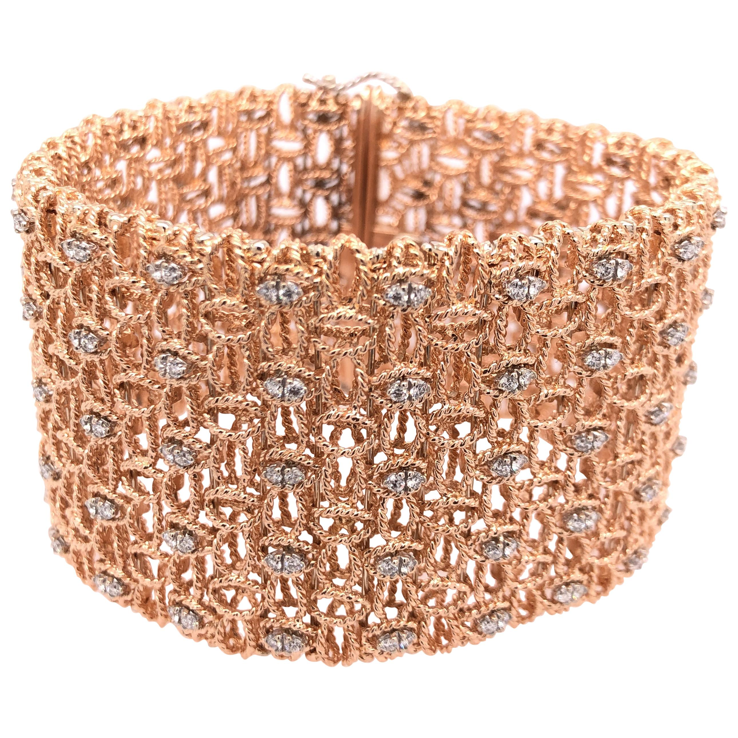 Roberto Coin Rose Gold and Diamond Bracelet