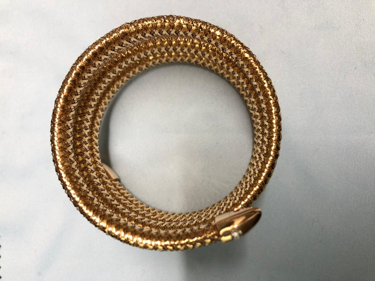Roberto Coin Rose Gold and Diamond Primavera Flexible Bangle Bracelet In Excellent Condition For Sale In New York, NY