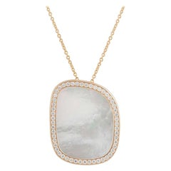 Roberto Coin Rose Gold Diamond and Mother of Pearl Pendant