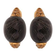 Roberto Coin Rutilated Black Quartz Yellow Sapphire Gold Earrings