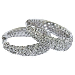 Roberto Coin Scalare Gold Diamond Hoop Earrings