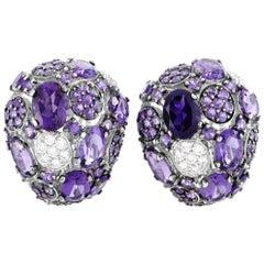 Roberto Coin Shanghai 18 Karat Gold Diamond and Amethyst Omega Back Earrings