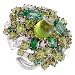 Roberto Coin Shanghai 18 Karat Gold Diamond Peridot & Green Topaz Cocktail Ring