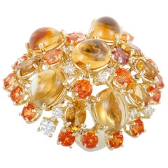Roberto Coin Shanghai 18 Karat Gold Diamond Yellow Citrine and Orange Topaz Co