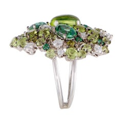 Roberto Coin Shanghai 18K White Gold Diamond Peridot and Green Topaz Cocktail Ri