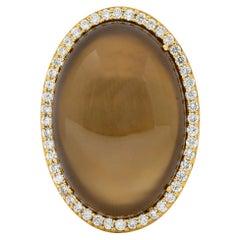 Roberto Coin Smoky Quartz Cabochon 1.45 Carat Diamond Halo Gemstone Ring