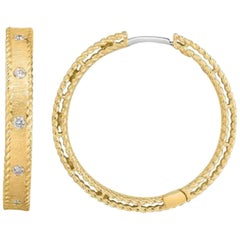Roberto Coin Symphony Diamond Hoop Earrings 18 Karat Yellow Gold