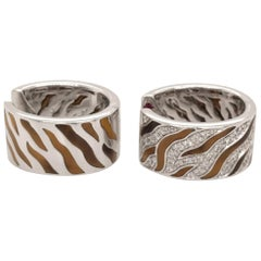 Roberto Coin Tiger's Eye and Diamond Reversible Huggie Hoops 18 Karat White Gold