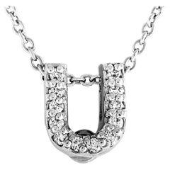 Roberto Coin Tiny Treasures Love Letter U 18 Karat White Gold Diamond Pendant
