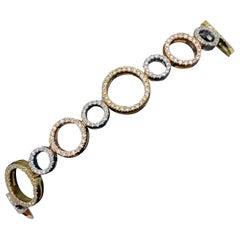 Roberto Coin Tri-Color Circle Bracelet 3.80 Carat 18 Karat