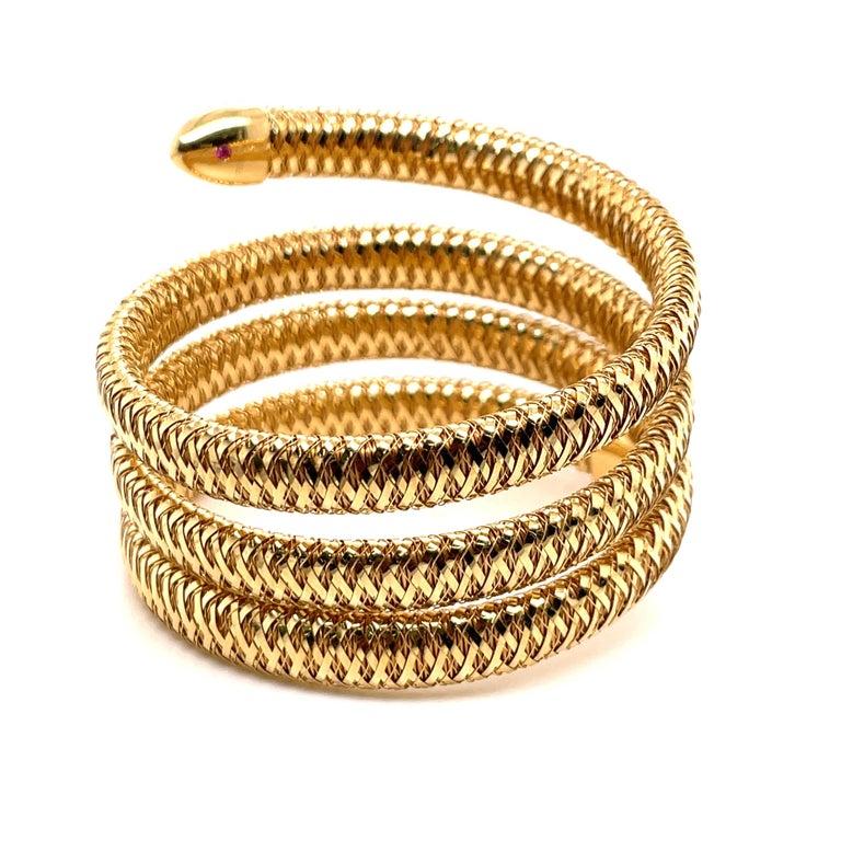 Roberto Coin Tubogas Snake Bracelet 18 Karat Yellow Gold 50.5 Grams For Sale 4