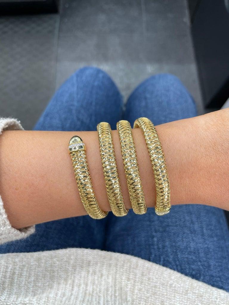 Roberto Coin Tubogas Snake Bracelet 18 Karat Yellow Gold 50.5 Grams For Sale 11