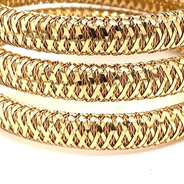 Women's Roberto Coin Tubogas Snake Bracelet 18 Karat Yellow Gold 50.5 Grams For Sale