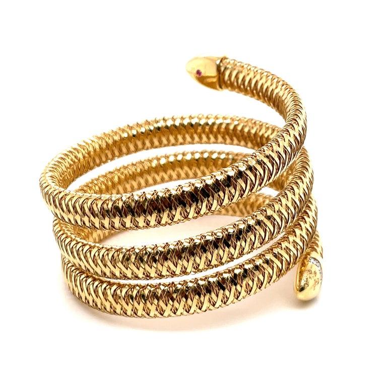 Roberto Coin Tubogas Snake Bracelet 18 Karat Yellow Gold 50.5 Grams For Sale 2