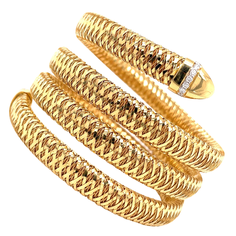 Roberto Coin Tubogas Snake Bracelet 18 Karat Yellow Gold 50.5 Grams