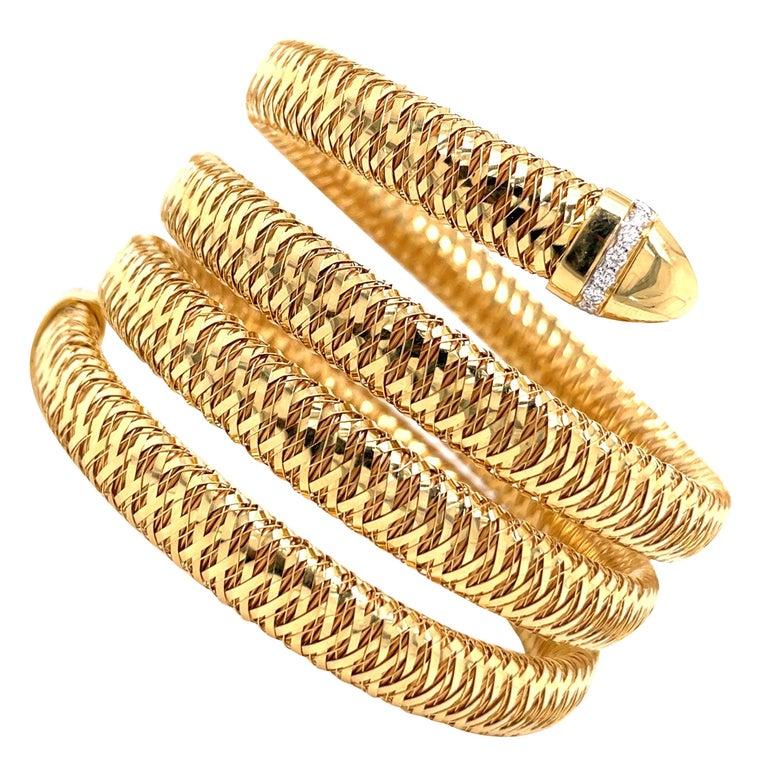 Roberto Coin Tubogas Snake Bracelet 18 Karat Yellow Gold 50.5 Grams For Sale