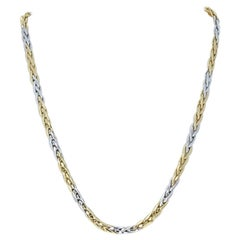 Roberto Coin Wheat Chain Necklace, 18k Yellow and White Gold Sapphire Cabochons