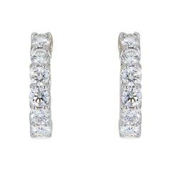 Roberto Coin White Gold 0.70 Carat Round Diamond Hoop Earrings