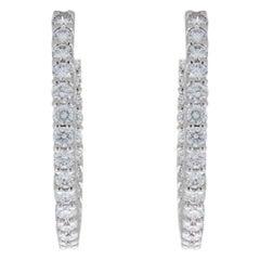 Roberto Coin White Gold 1.53 Carat Round Diamond Hoop Earrings