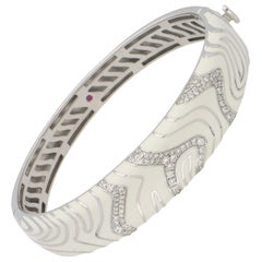 Roberto Coin White Gold and Enamel Diamond Bangle