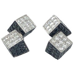 Roberto Coin White Gold Black Sapphire and Diamond Earrings