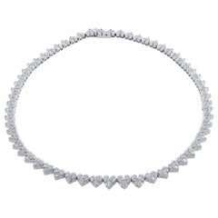 Roberto Coin White Gold Heart-Shaped Cluster Diamond Necklace