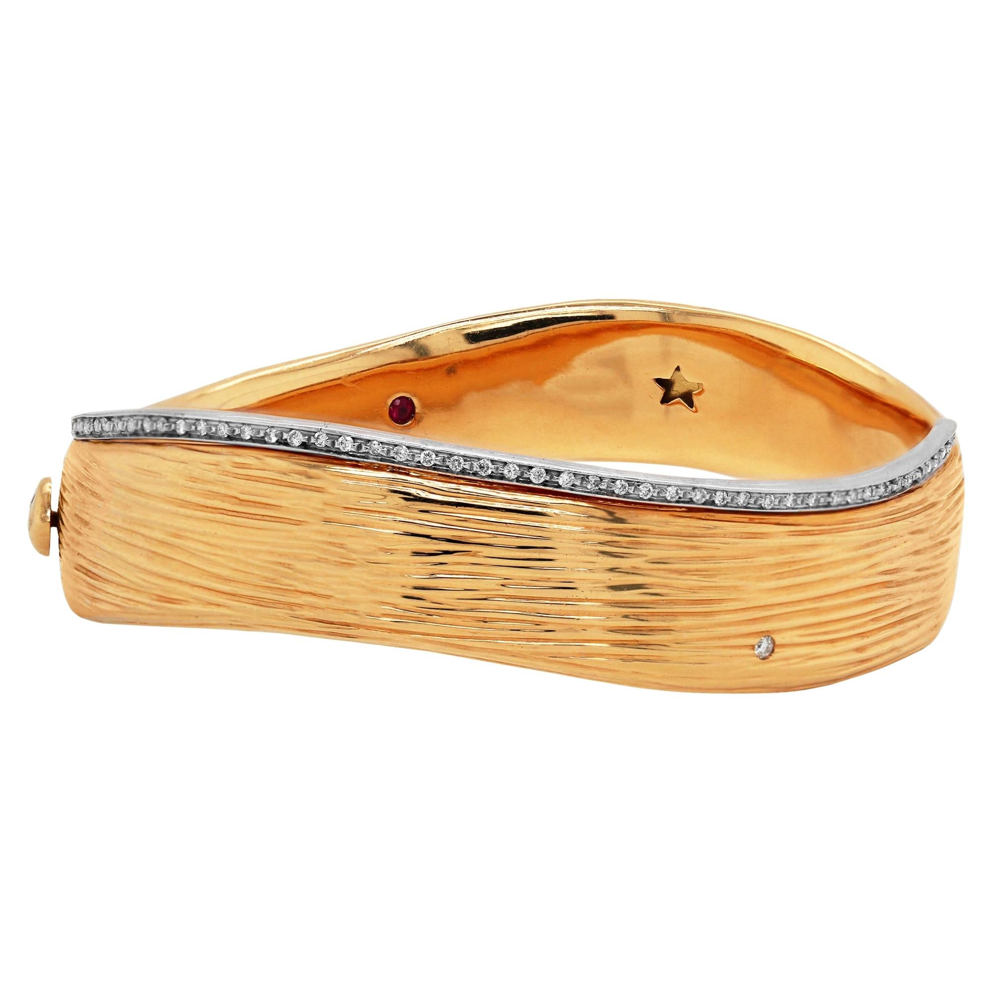 Roberto Coin Yellow Gold and Diamond Bangle Bracelet