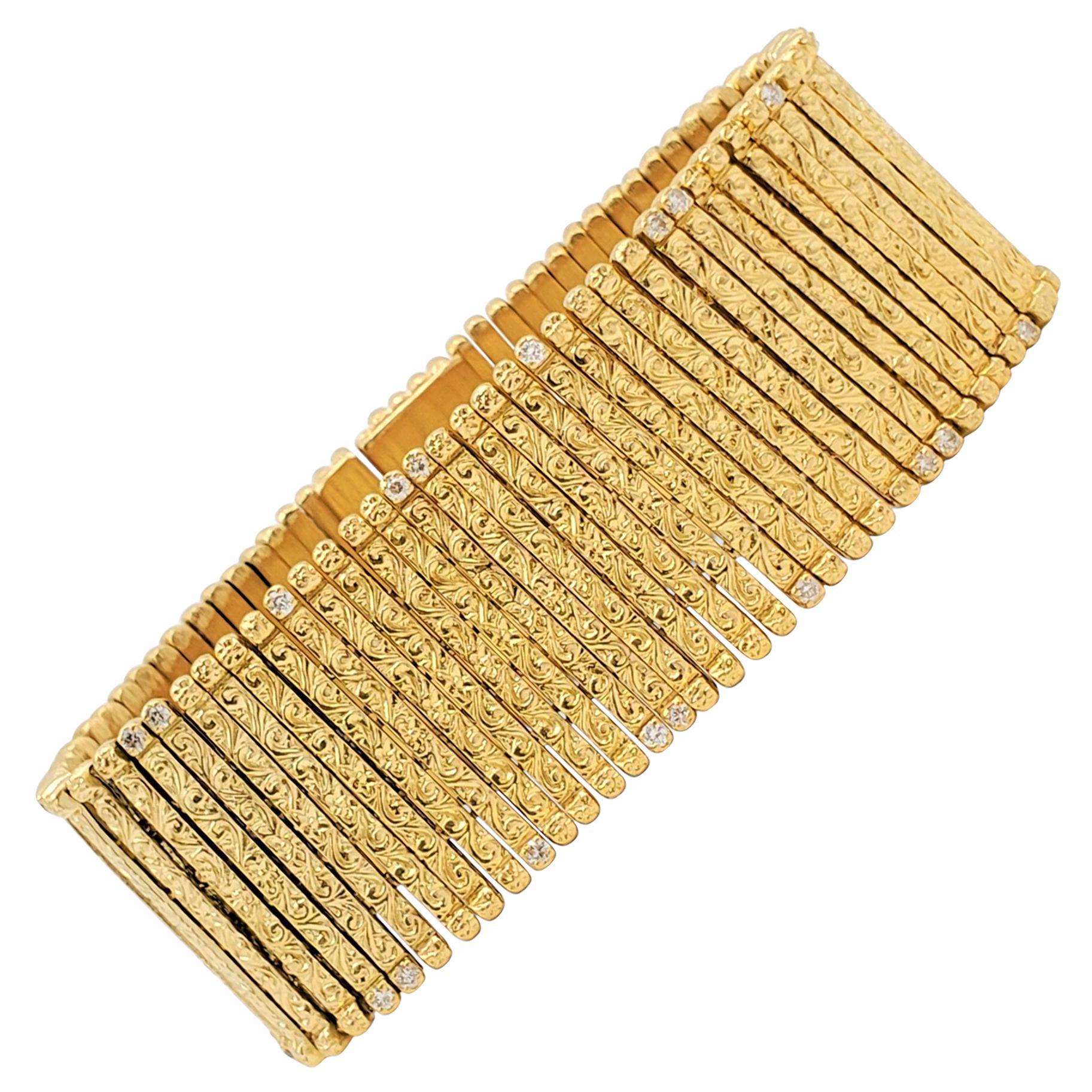 Roberto Coin Yellow Gold and Diamond Flexible Bracelet