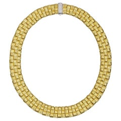 Roberto Coin Yellow Gold Appassionata Three-Row Collar Woven Link Necklace