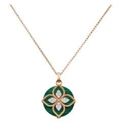 Roberto Coin Yellow Gold, Diamond and Malachite Pendant Necklace
