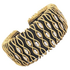 Roberto Coin, Yellow Gold, Diamonds, Wood Cuff Bracelet