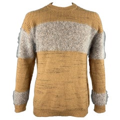 ROBERTO COLLINA Size L Tan & Grey Knitted Wool Blend Crew-Neck Sweater