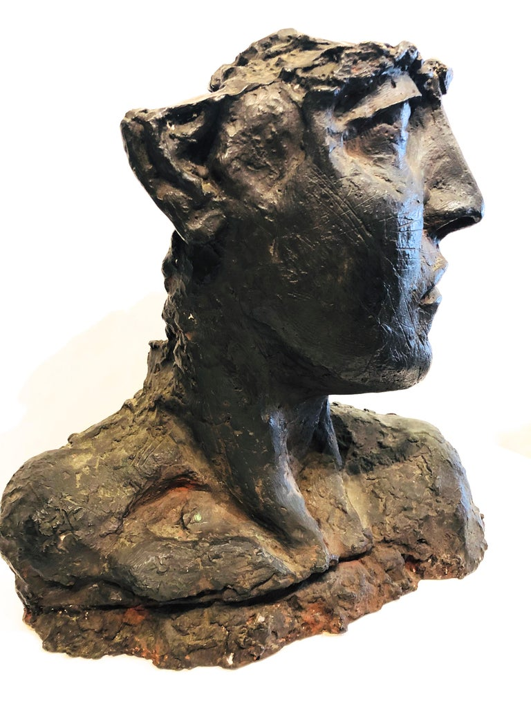 Bust Of A Woman - Gold Figurative Sculpture by Roberto Cortazar
