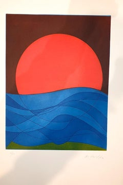Plate I from Suns/Landscapes - Original Etching by R. Crippa - 1971/72