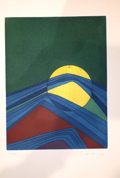 Plate II from Suns/Landscapes - Original Etching by R. Crippa - 1971/72