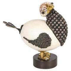 Roberto Estevez Ostrich Egg and Sea Shell Bird Sculpture 1968 (Signed)