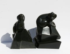 Pair of Baboons, Table Top Bronze Sculptures by Roberto Estevez